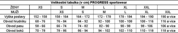 Velikostní tabulka Progress sportswear